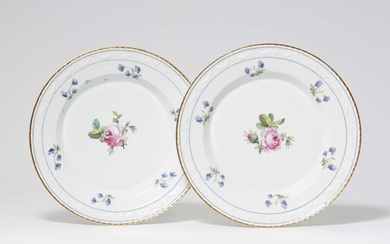 Two Berlin KPM porcelain dinner plates from the dinner service for Countess Lichtenau