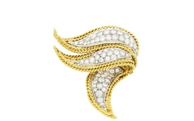 Two-Color Gold and Diamond Brooch
