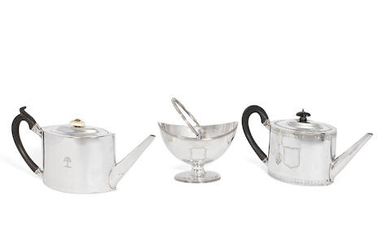 Two George III teapots and a sugar basket