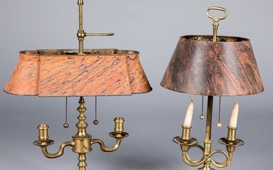 Two brass bouillotte lamps
