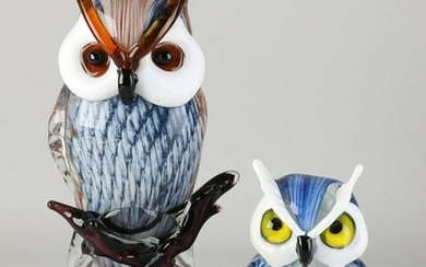Two glass owls