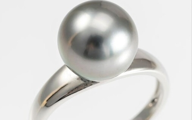 United Pearl - 10x11mm Round Peacock Tahitian Pearl - 14 kt. White gold - Ring