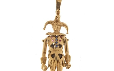 Large 9ct gold articulated jester pendant set with blue and ...