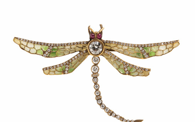 18kt Gold, Plique-a-jour Enamel, and Diamond Dragonfly Brooch