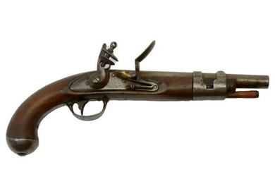19th Century American Simeon North Flintlock Pistol.