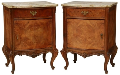 (2) LOUIS XV STYLE MARBLE-TOP BEDSIDE CABINETS