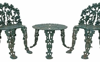 (3) CAST IRON GRAPEVINE GARDEN CHAIRS & TABLE