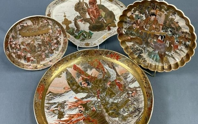 4 plates of Satsuma porcelain. Probably Japan old