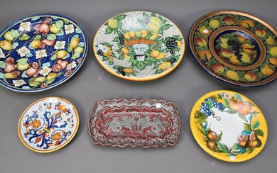 6 Assorted Italian Decorative Pottery Chargers