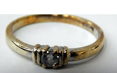 9ct Gold Diamond solitaire ring size L