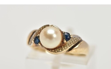 A 9CT GOLD CULTURED PEARL AND SAPPHIRE DRESS RING, set with ...