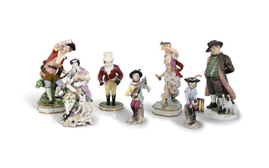 A COLLECTION OF 18/19TH CENTURY PORCELAIN FIGURES, comprising...