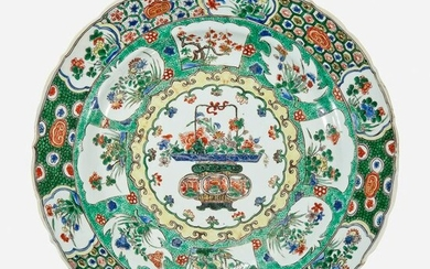 "A Chinese famille verte ""Flower Basket"" charger"