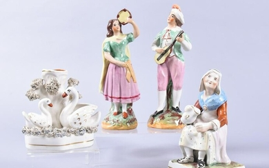 A Collection of 4 Antique Staffordshire Figures