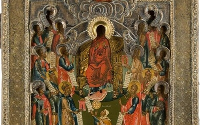 A FINE ICON SHOWING THE PRAISE OF THE MOTHER OF GOD