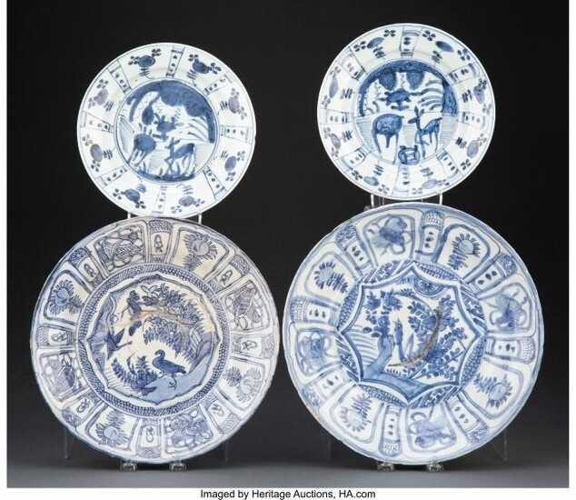 A Group of Four Blue and White Nanking Cargo Pla