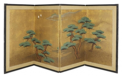A Japanese four panel screen, ink and colour on paper,...