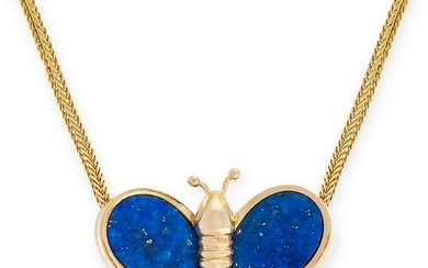 A LAPIS LAZULI BUTTERFLY PENDANT NECKLACE in the form