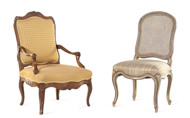 A Louis XV Style Painted Side Chair and a Régence Style Oak Fauteuil
