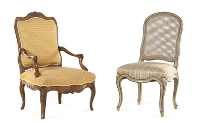 A Louis XV Style Painted Side Chair and a Regence Style