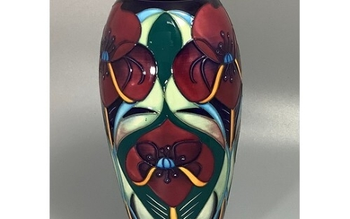 A Moorcroft pottery vase of elongated ovoid form, decorated ...