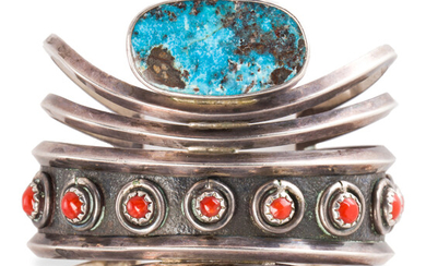 A Native American turquoise, coral and sterling silver cuff bracelet, Loren Phillips Hopi