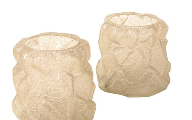A PAIR OF ART GLASS 'CRACKLE' VASES OR JARDINIERES of natura...