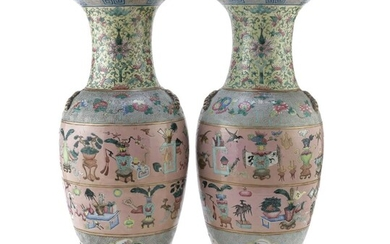 A PAIR OF CHINESE POLYCHROME ENAMELED PORCELAIN VASES 19TH CENTURY.