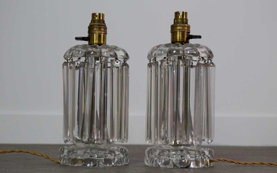 A PAIR OF EARLY 20TH CENTURY CUT GLASS TABLE LAMP LUSTRES