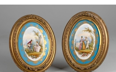 A PAIR OF FRAMED SEVRES PORCELAIN WALL PLAQUES, LATE 19TH/EA...