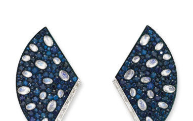 A PAIR OF SAPPHIRE, MOONSTONE AND DIAMOND FAN EARRINGS,, UMRAO