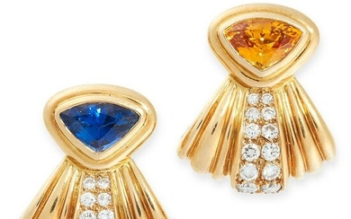 A PAIR OF VINTAGE SAPPHIRE AND DIAMOND CLIP EARRINGS