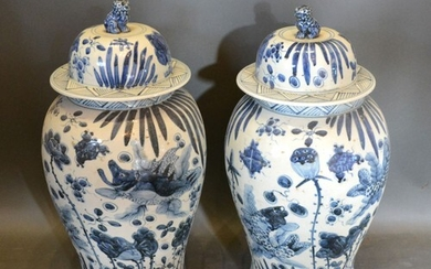 A Pair of Chinese Underglaze Blue Large Covered Vases, the c...