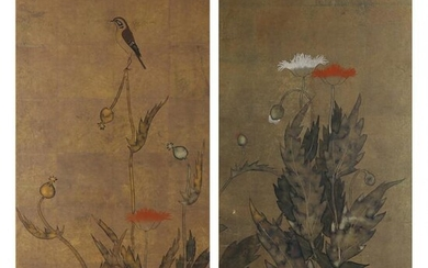 A Pair of Rinpa Style Japanese Paintings