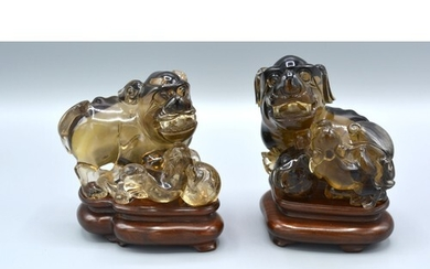 A Pair of late 19th Chinese Rock Crystal Models in the form ...