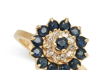 A SAPPHIRE AND DIAMOND DRESS RING set with a round cut