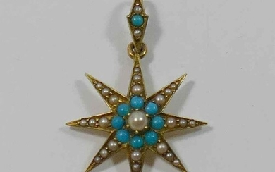 A Victorian gold, half seed pearl and turquoise set star pen...