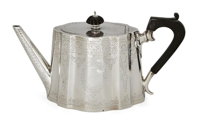 A Victorian silver teapot, London, c.1877, Frederick Elkington, of shaped oval form with floral engraved body and wooden handle, the hinged lid surmounted by lobed wooden finial, approx. 12 cm high (handle), approx. weight 12oz