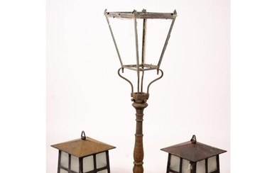 A Victorian style lantern on cast iron base, height 143cm to...