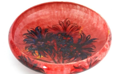 A WILLIAM MOORCROFT OVERSIZED FOOTED SHALLOW BOWL
