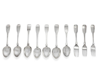 A collection of Irish silver Fiddle pattern flatware various maker's and dates (26)