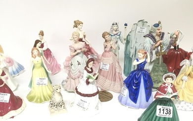 A collection of Royal Doulton Coalport and other figures.no ...