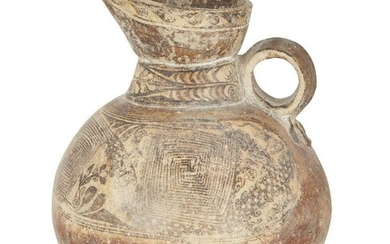 A large pottery slip glazed jug, Central Asia, 13th century, of globular form with high neck widening at the spout and circular handle, the red pottery ground painted in black with abstract geometric and vegetal designs in a band around the upper...