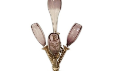 A late 19th century table centre epergne with silver plated ...