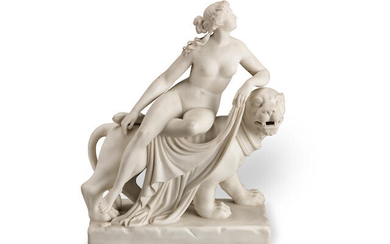 A mid 19th century English 'Parian' biscuit glazed porcelain figural group of 'Ariadne & the Panther' after the original model by Johann Heinrich von Dannecker (German, 1758-1841), and the Minton version modelled by John Bell (British, 1811-1898)