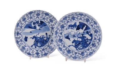 A pair of Chinese porcelain blue and white circular saucer dishes