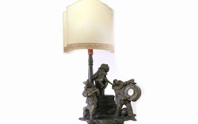 A patinated terracotta table lamp