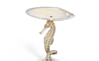 A silver, silver-gilt and mother of pearl sea-horse figural dish