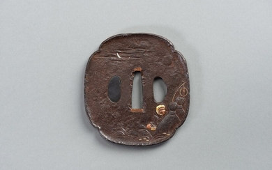 AN INLAID IRON TSUBA WITH A MAN TRYING TO CATCH A FOX