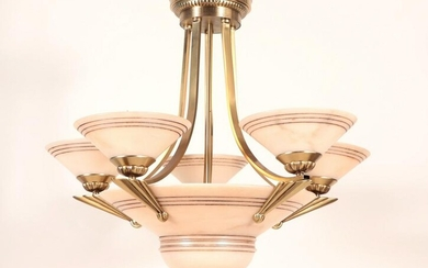 ART DECO STYLE 5-ARM BRASS ALABASTER CHANDELIER